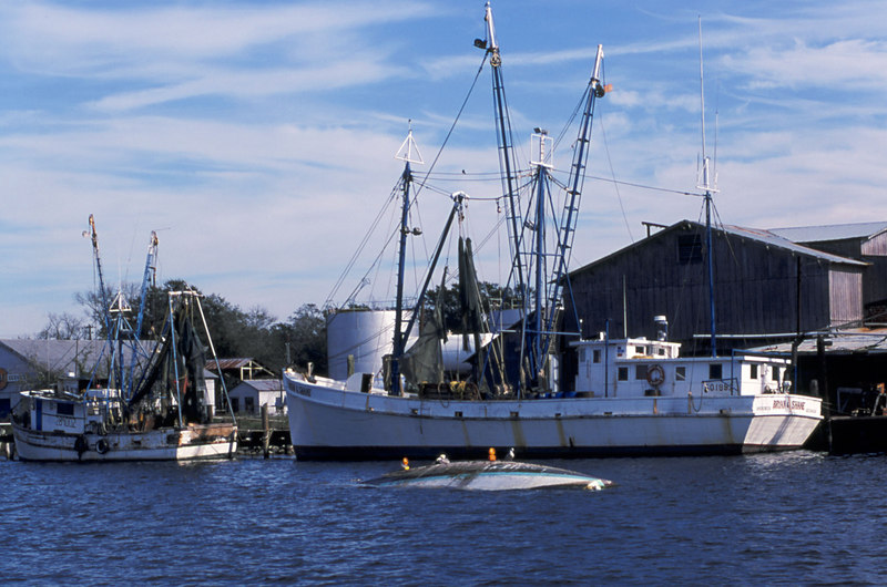 Shrimp Boats of the Golden Isles - Jean M Sunk with the Bryan Shane before she caught fire