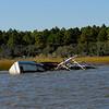 Sunken shrimp boat in Floyd's Creek along the Alternat Intracoastal Waterway (ICW) in Georgia