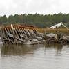 Shrimp boat wreck in the Alternate ICW (Intracoastal Waterway) near marker R-A26 in Georgia near Brunswick 01-02-11