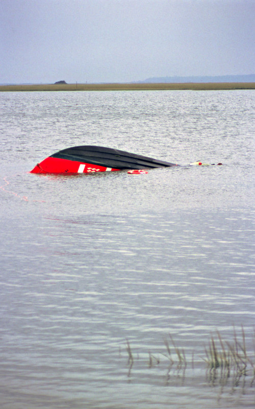 """TowBoatUS Vessel """"Victory"""" sunk and now floating upside down in Jekyll Creek, Jekyll Island, Georgia 2003 during the salvage"""