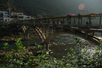 A bridge leading to the largest cave in China.
