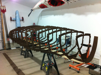 Once the keel was assembled, the templates were installed.  This was an exciting step as it was my first time to see the overall shape and scale of the hull.