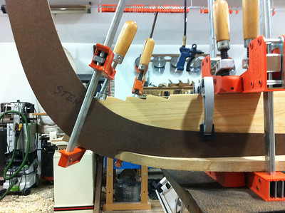 The steam-bent keel fits the stem template perfectly.