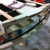 """More steam bending and lots of complex band saw work were required to frame the transom structure.  The 50"""" radius combined with the 8 degree forward angle caused lots of head-scratching."""