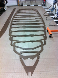 """The original offsets were used to reconstruct the hull in SolidWorks software.  Each frame was then CNC routed in 1/4"""" masonite as templates to ensure that the programming was accurate and the hull was fair."""