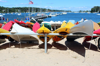 Kayaks and canoes at Gold Star Batallion Beach, Huntington, NY