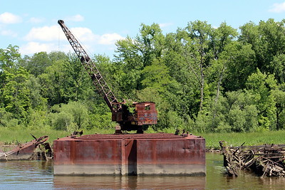 Abandonded construction barge on Rondout Creek, Kingston, NY