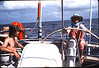 Gilly Rainey at the helm, eastern Atlantic