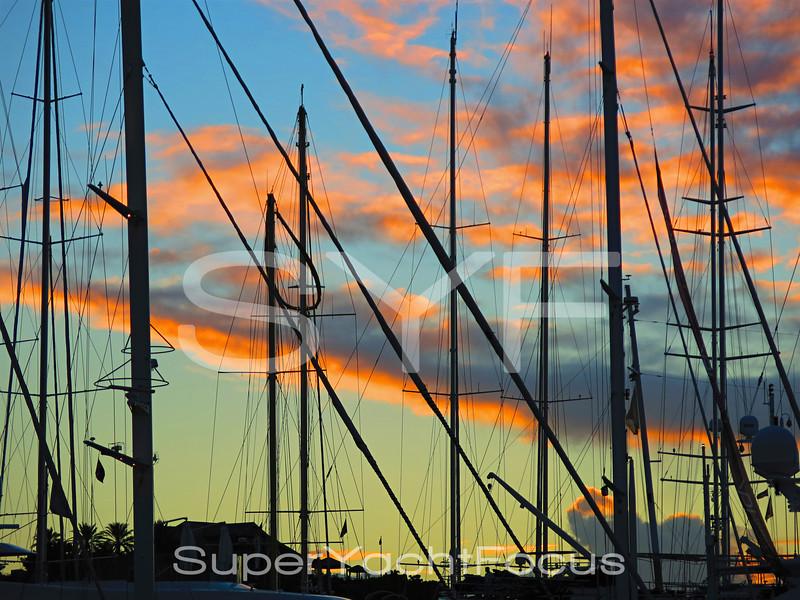 Masts at sunset