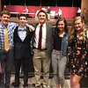 From left, Sandy Rega, Thomas Brown, Owen Rega, Chelmsford High Scholarship recipients Jack Fox and Meghan Stagnone, and Campbell and Bob Brown Jr., all of Chelmsford