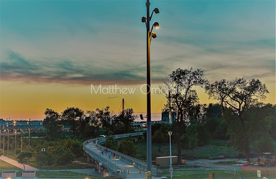 Bridge at sunset from the Council Bluffs end