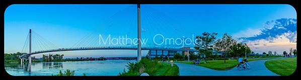 Panorama Bob Kerrey Pedestrian Bridge blue hour
