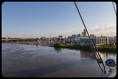 Flooding of Lewis and Clark landing by Missouri river seen from Bob Kerrey Pedestrian Bridge Omaha Nebraska