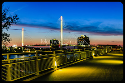 Bob Kerrey Pedestrian Bridge just after sunset