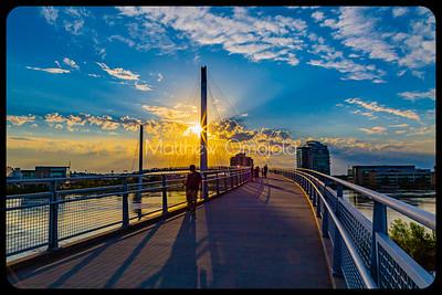 Bob Kerrey Pedestrian Bridge at sunset