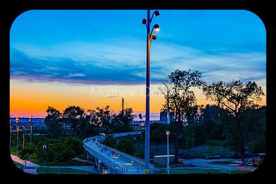 Council Bluffs landing of the Bob Kerrey Foot Bridge at sunset