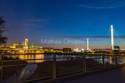 Downtown Omaha at night from the bridge. First National Bank of Omaha building is the tallest on the left.