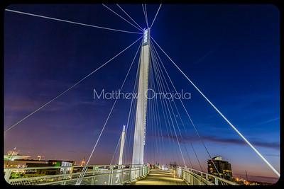 Bob Kerrey Pedestrian Bridge Stay cables and Towers at night