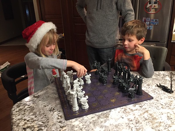The kids were excited about the Harry Potter chess set!