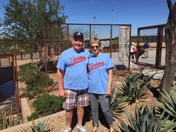 Lots of Spring Training! This is Daryl from South Dakota. We thought it was hilarious to have the same shirts! Minnesota Twins!