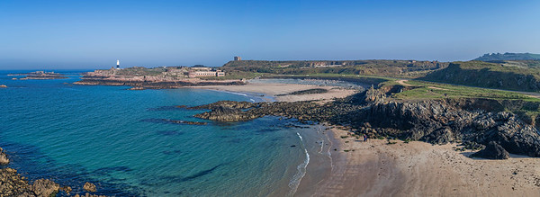 Low panorama over Arch and Corblets, Alderney