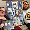 "Robin and Douglas Gravlin, with photos and a book about their son Bobby Aguiar-Doyle, who was killed in a motorcycle crash in 2015, she started ""Bobby's Legacy Foundation"" and will be honored by the Boston Bruins during a game on Dec. 14th. SUN/David H. Brow"