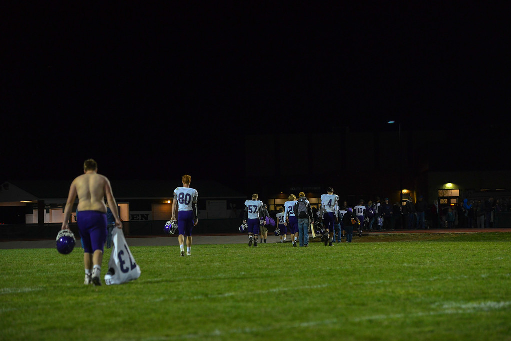 . The Bobcats depart the field in defeat. They lost 47-3 to the Highland Huskies in Ault, Colo., on Oct. 25.
