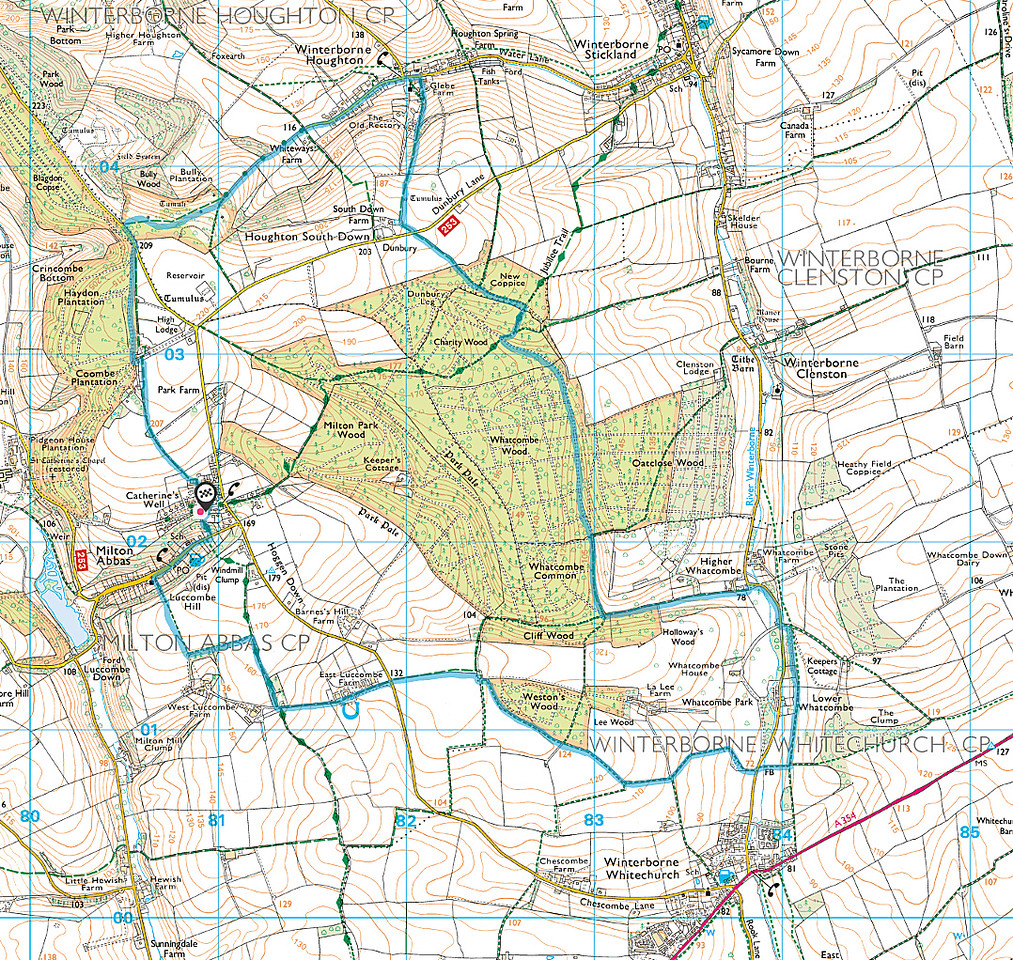 The route walked is shown in blue - walked in a clockwise direction
