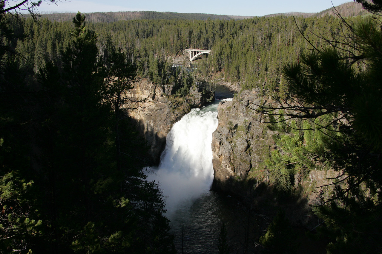 Upper Falls on a Sunny Morning at Yellowstone National Park