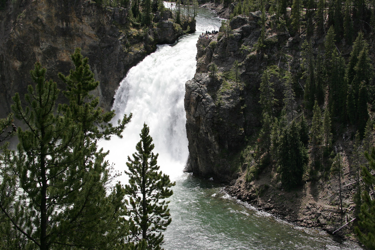 Upper Falls with Visitors at Yellowstone National Park