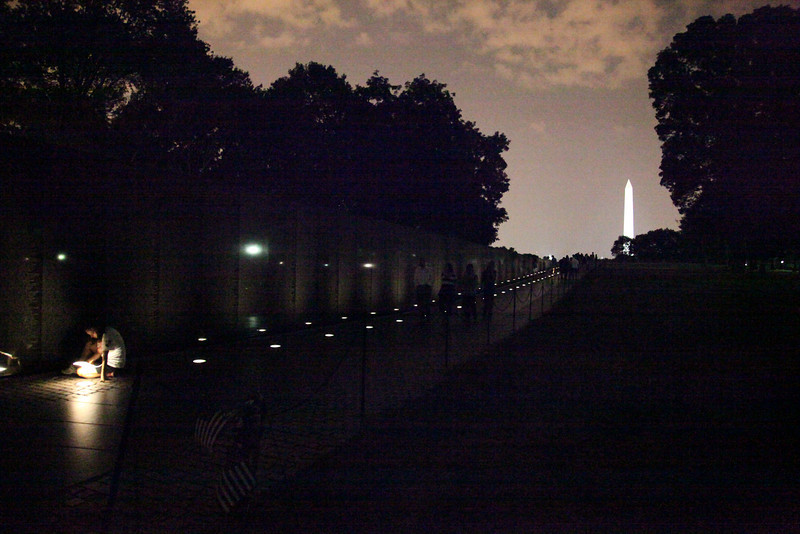 Nighttime at the Vietnam Memorial -- National Mall, Washington, DC