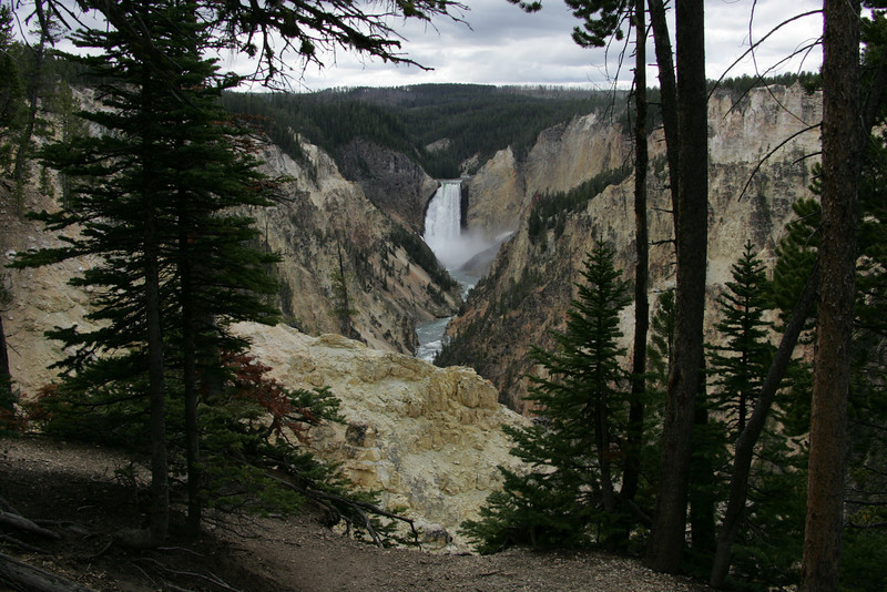 Lower Falls on a Cloudy Day -- Yellowstone National Park