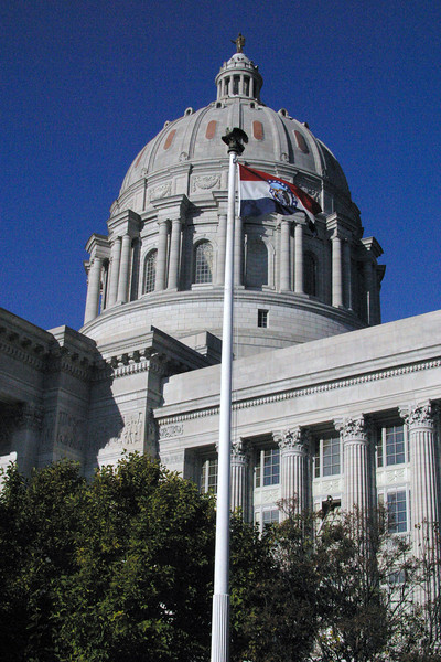 Missouri Capitol Dome and State Flag