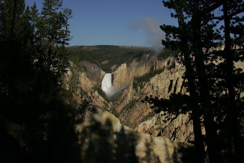 Lower Falls, Yellowstone National Park on a Sunny Day