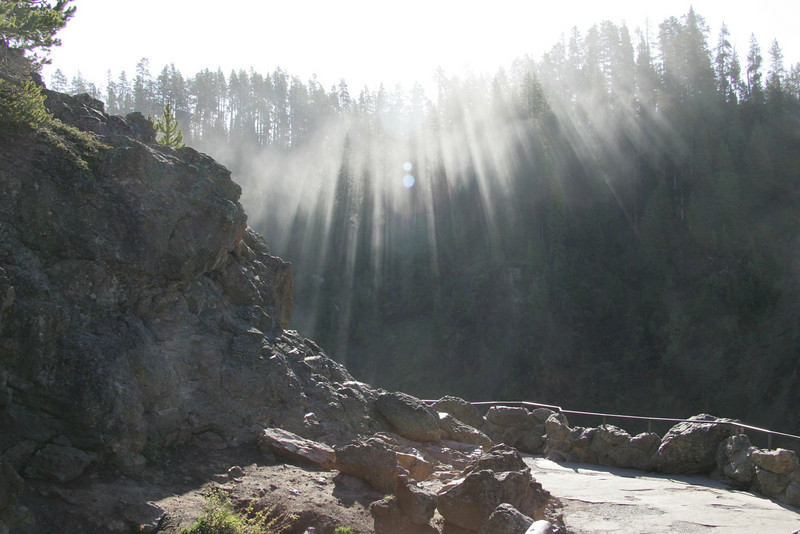 Morning Sunbeams -- Upper Falls at Yellowstone National Park