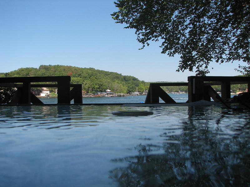 Optical Illusion: textured deck tabletop and Lake of the Ozarks, MO