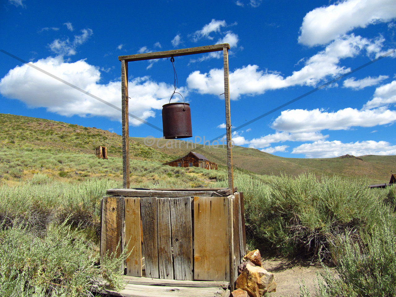 Bucket hanging over a well in Bodie State Park, Bodie California
