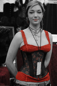 Sierra was kind enough to pose for this photo AND give me the chance to try on a corset myself... I politely declined 8-)