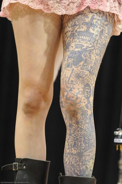 """Serana Rose and her tat version of Flo-Jo's """"One-legger"""""""