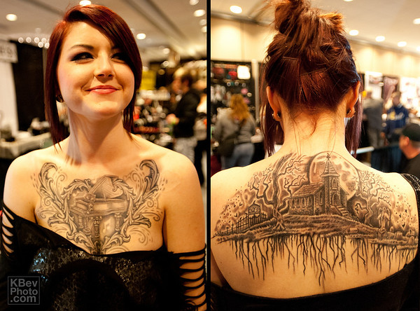 Leah had one of the nicest large B&W tats I've seen.  It won one of that categories