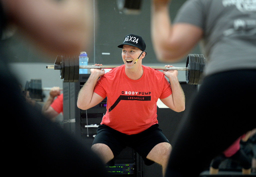 . BOULDER, CO - OCTOBER 10, 2018: Instructor Steve Carroll leads his Body Pump workout on Wednesday at 24 Hour Fitness in Boulder. For more photos of the class go to dailycamera.com (Photo by Jeremy Papasso/Staff Photographer)