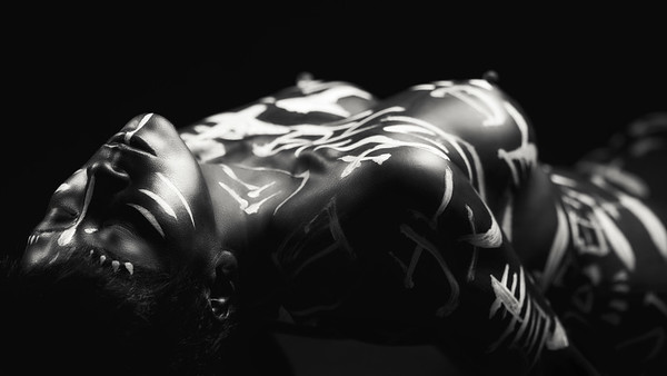 Chinese & Japanese calligraphy body art photography