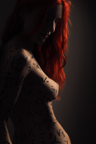Julie - Chinese calligraphy body art photography