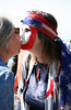 "A woman identifying herself simply as ""Alethea""  of Bolinas greets ""Ruth"" (in the mask) with a kiss on the beach in Bolinas Sunday morning, July 4, 2010.(Special to the IJ/Jocelyn Knight)"
