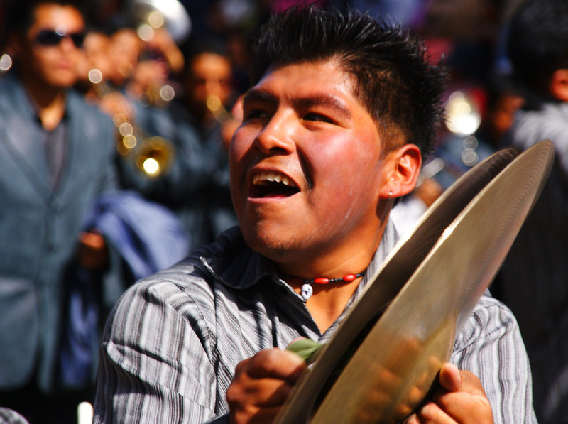 """Street performer/musician during the magnificent Fiesta del Gran Poder - La Paz, Bolivia.  This is a travel photo from La Paz, Bolivia. <a href=""""http://nomadicsamuel.com"""">http://nomadicsamuel.com</a>"""