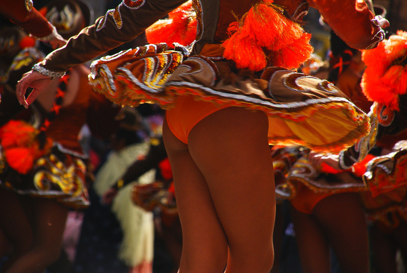 Today's daily travel photo is of a sexy performer's derriere as part of a sassy performance from the Fiesta del Gran Poder - La Paz, Bolivia.