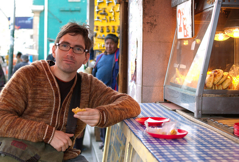 Yann at our favourite saltena stall