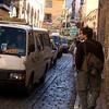 Yann walking down Sagamaga street, in the tourist district of La Paz.