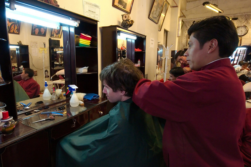 Yann getting a much needed haircut in downtown La Paz.