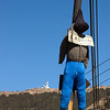 Dummy hangman on the highway from El Alto to La Paz.